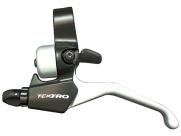 Tektro ручка тормозная cl525-rs левая, со звонком, под 2 пальца, алюминий, для v-brake и шифтеров rapidfire, чёрн./серебр., 111г/шт, для city/trekking