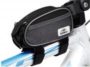 Сумка на раму передняя ty-0902, 15х6,5x8,5см, материал eva, два боковых сетчатых кармана, одно отделение на молнии, чёрная