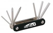 Super b tb-9600 набор инструментов складной 7 в 1: шестигранники 2,5/3/4/5/6мм, отвертки +/-, торг. уп.