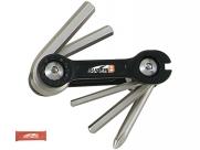 Super b тв-9860 набор инструментов складной 6 в 1: шестигранники3/4/5/6мм, спицевой ключ 3,2 мм, отвертка +, красный, торговая упаковка