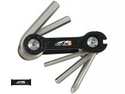 Super b тв-9860 набор инструментов складной 6 в 1: шестигранники 3/4/5/6мм, спицевой ключ 3,2 мм, отвертка +, черный, торговая упаковка