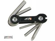 Super b тв-9860 набор инструментов складной 6 в 1: шестигранники 3/4/5/6мм, спицевой ключ 3,2 мм, отвертка +, серебристый, торговая упаковка