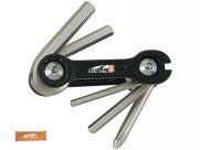 Super b тв-9860 набор инструментов складной 6 в 1: шестигранники 3/4/5/6мм, спицевой ключ 3,2 мм, отвертка +, оранжевый, торговая упаковка