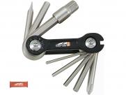 Super b tb-9870 набор инструментов складной 10 в 1: шестигранники 2,5/3/4/5/6/8мм, отвертки +/-, спицевой ключ 3,2 мм, красный, торговая упаковка.