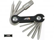 Super b tb-9870 набор инструментов складной 10 в 1: шестигранники 2,5/3/4/5/6/8мм, отвертки +/-, спицевой ключ 3,2 мм, чёрный, торговая упаковка.