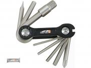 Super b tb-9870 набор инструментов складной 10 в 1: шестигранники 2,5/3/4/5/6/8мм, отвертки +/-, спицевой ключ 3,2 мм, серебристый, торговая упаковка.