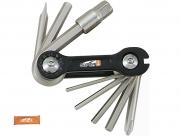 Super b tb-9870 набор инструментов складной 10 в 1: шестигранники 2,5/3/4/5/6/8мм, отвертки +/-, спицевой ключ 3,2 мм, оранжевый, торговая упаковка.