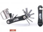 Super b tb-fd20 набор инструментов складной 18 в 1: шестигранники 2,5/3/4/5/6/8мм, torx 25/30, отвертка ph1, выжимка цепи, спицевые ключи 3,2/3,5/3,3/3,5 мм, монтажки 2 шт., держатель пина, виниловое покрытие, красный, торговая упаковка