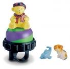 Звонок поворотный yws-667a, d:47мм. материал: алюминиевый купол, пластиковая база. дизайн: мишка на шаре.