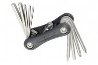 Kellys инструмент складной stinger 10: шестигранники 2/2,5/3/4/5/6/8мм, отвёртки +/-, т25; серый