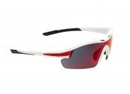 Очки спортивные swisseye novena. оправа: матовая белая/красная. линзы: дымчатые с коричнево-красным отражающим покрытием+оранжевые+прозрачные