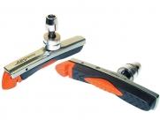 Baradine колодки тормозные abs-01vc для v-brake, картриджные, резьбовые, 72мм, чёрно-оранж. картридж в сером корпусе, защита от залипания, в торг.уп.