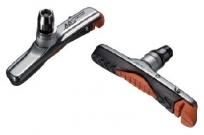 Baradine колодки тормозные abs-01vc для v-brake, картриджные, резьбовые, 72мм, чёрно-оранж. картридж в сером корпусе, защита от залипания, в уп.