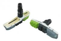 Baradine колодки тормозные c55d для v-brake, картриджные, резьбовые, 72 мм, облегчённые, чёрный корпус, картридж: чёр./сер./салатов.