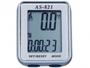 Велокомпьютер as-821 проводной. 11 функций: скорость /режим сканирования /время /пройденное расстояние/одометр /максимальная скорость /средняя скорость /часы /каденс /счётчик калорий /секундомер. цвет: серебристый