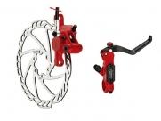 Tektro тормоз дисковый гидр. задний, auriga pro, ротор 203мм, красный калипер и брекет, чёрная ручка, гидролиния 1450мм