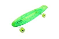 Скейтборд пластиковый  прозрачный со светящимися колесами PLAYSHION FS-LS002